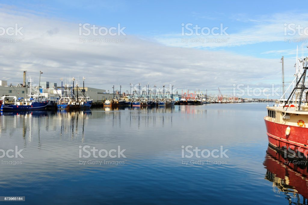 Fishing boats docked on Acushnet River stock photo