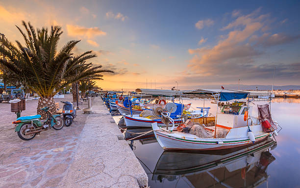 Fishing boats Greece Greek fishing harbor scene with boats, palm trees and scooters at sunrise on a beautiful tranquil summer day in july rymdraket stock pictures, royalty-free photos & images