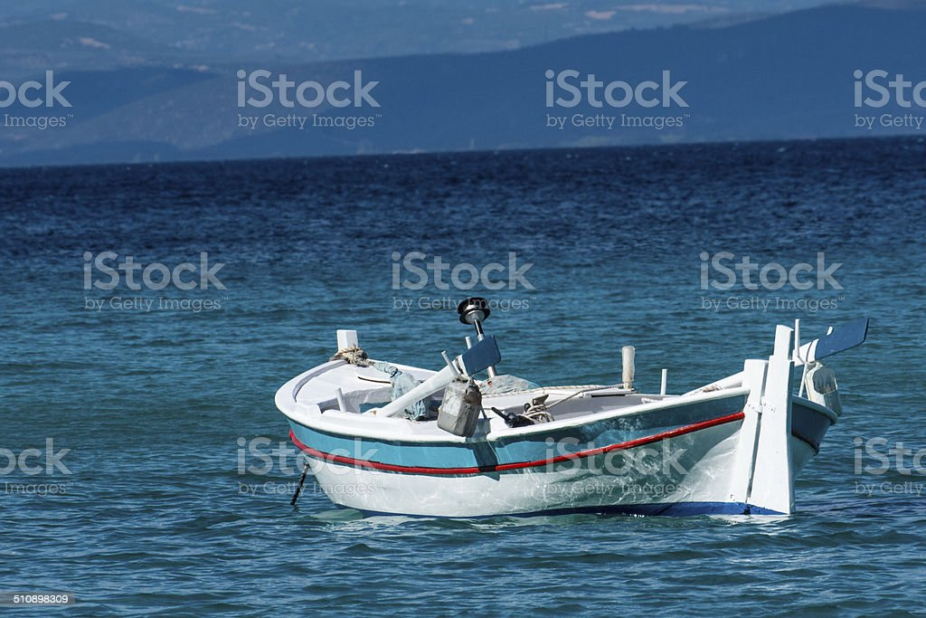 Fishing boats in a port stock photo
