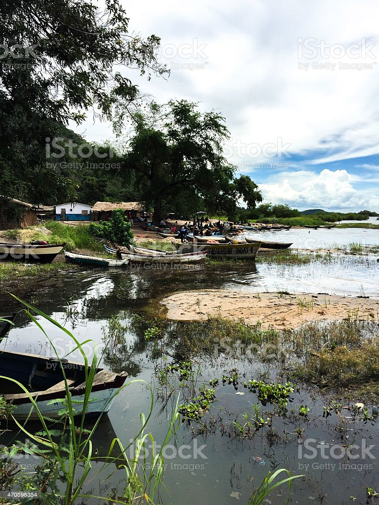 Fishing boats in Africa stock photo