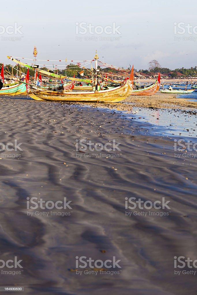 fishing boats in Bali stock photo