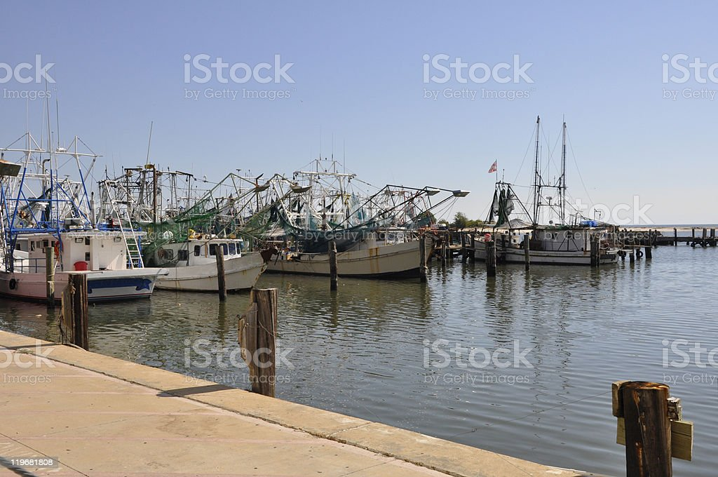 fishing boats in Biloxi, Mississippi stock photo