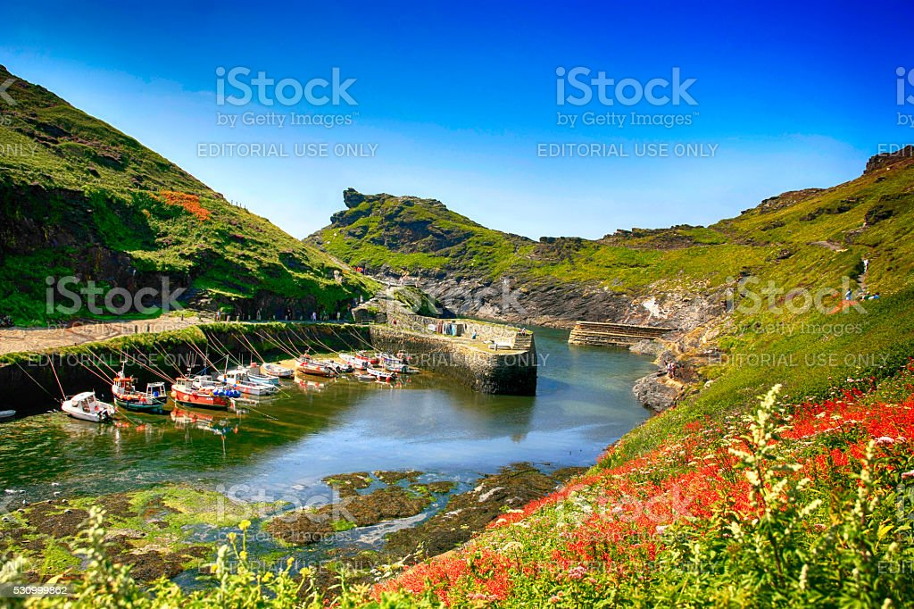 Fishing boats in Boscastle Harbour, Cornwall UK stock photo
