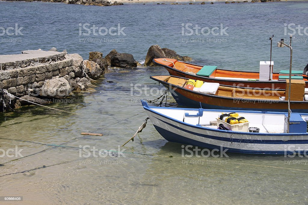 Fishing boats in Caesarea.Israel royalty-free stock photo