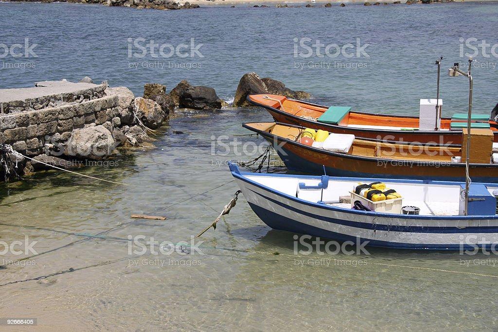 Fishing boats in Caesarea.Israel stock photo