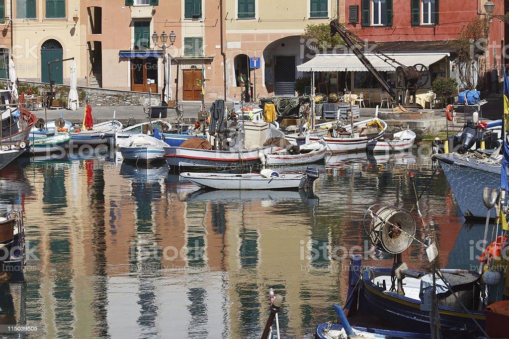 fishing boats in Camogli royalty-free stock photo