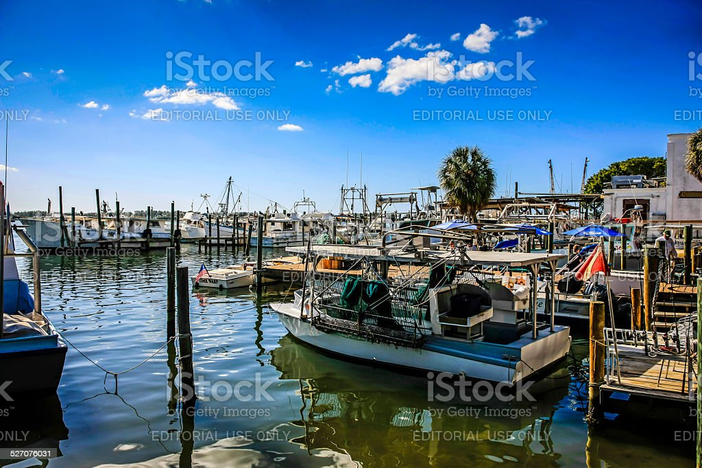 Fishing boats in Cortez Harbor on Anna Maria Island FL stock photo