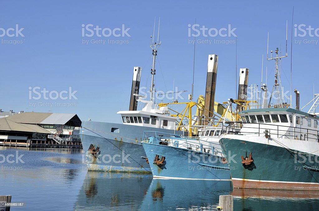 Fishing Boats in Harbour stock photo