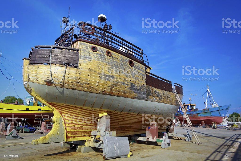 Fishing boats in ship yard royalty-free stock photo