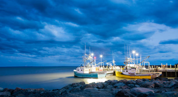 fishing boats in the bay of fundy - atlantic ocean stock pictures, royalty-free photos & images