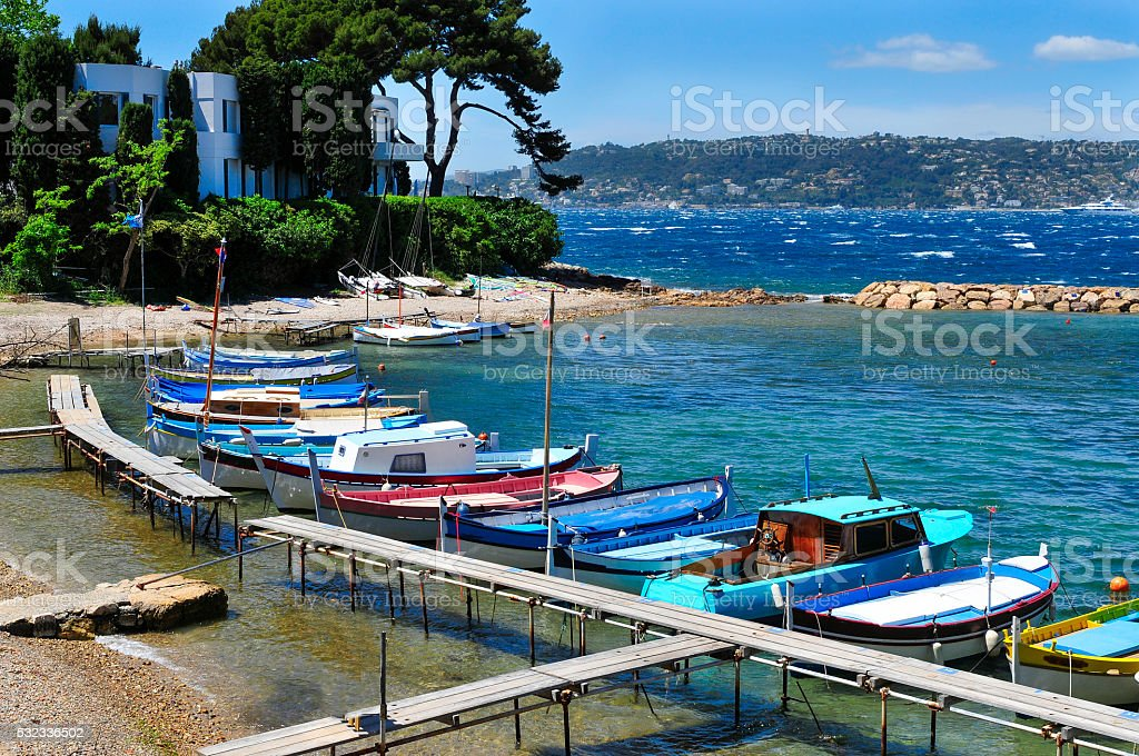 fishing boats in the French Riviera, France stock photo