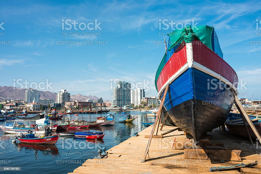 Fishing boats in the harbour at Antofagasta stock photo