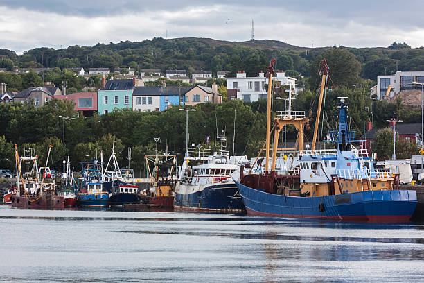 Fishing Boats in the harbour, Howth, Dublin stock photo