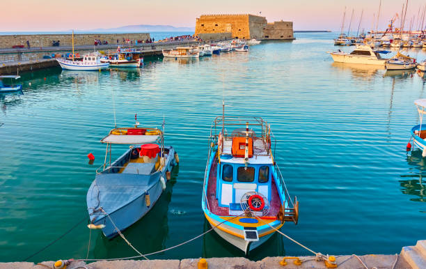 Fishing boats in the harbour in Heraklion stock photo