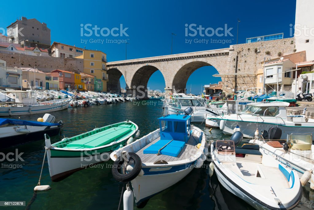 Fishing Boats in the Harbour of Vallon des Auffes, near Marseille France stock photo