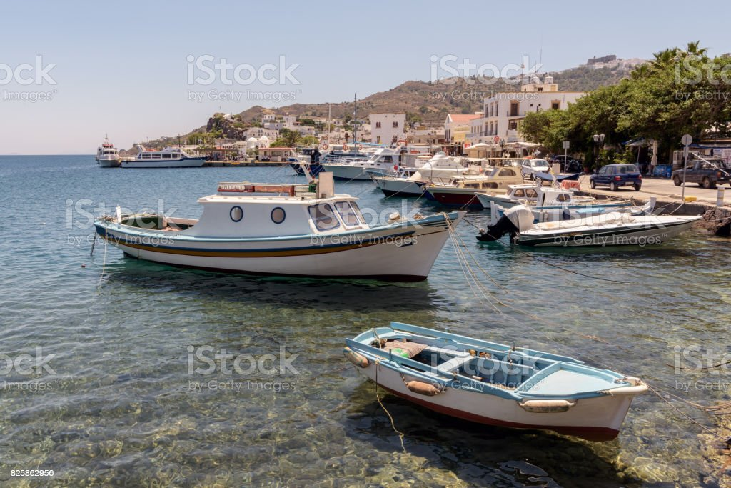 Fishing boats in the island of Patmos, Greece stock photo