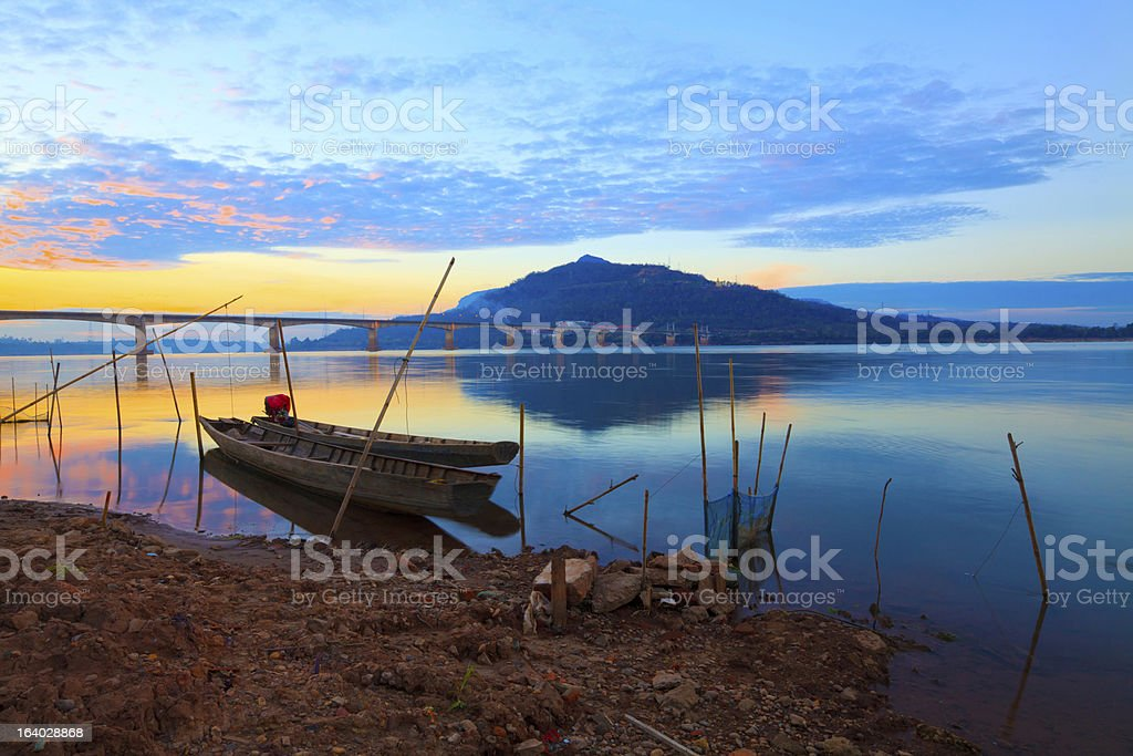 Fishing boats in the Mekong River stock photo