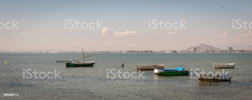 Fishing boats in the Menor Sea of Murcia. Spain royalty-free stock photo