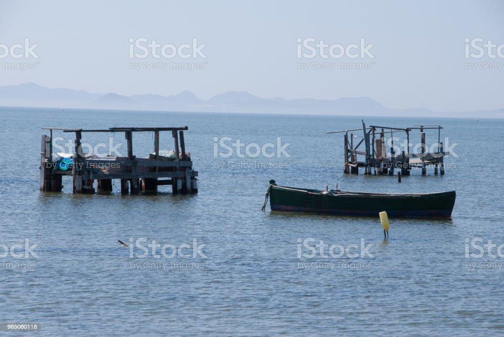 Fishing boats in the Menor Sea of Murcia. Spain royalty-free stock photo