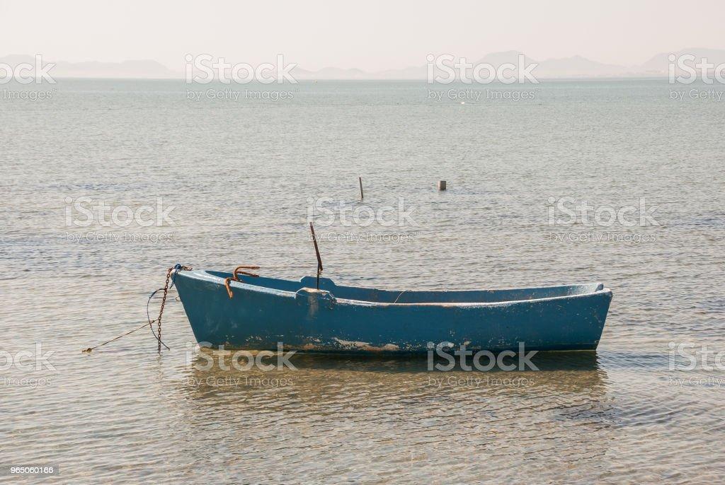 Fishing boats in the Menor Sea of Murcia. Spain zbiór zdjęć royalty-free