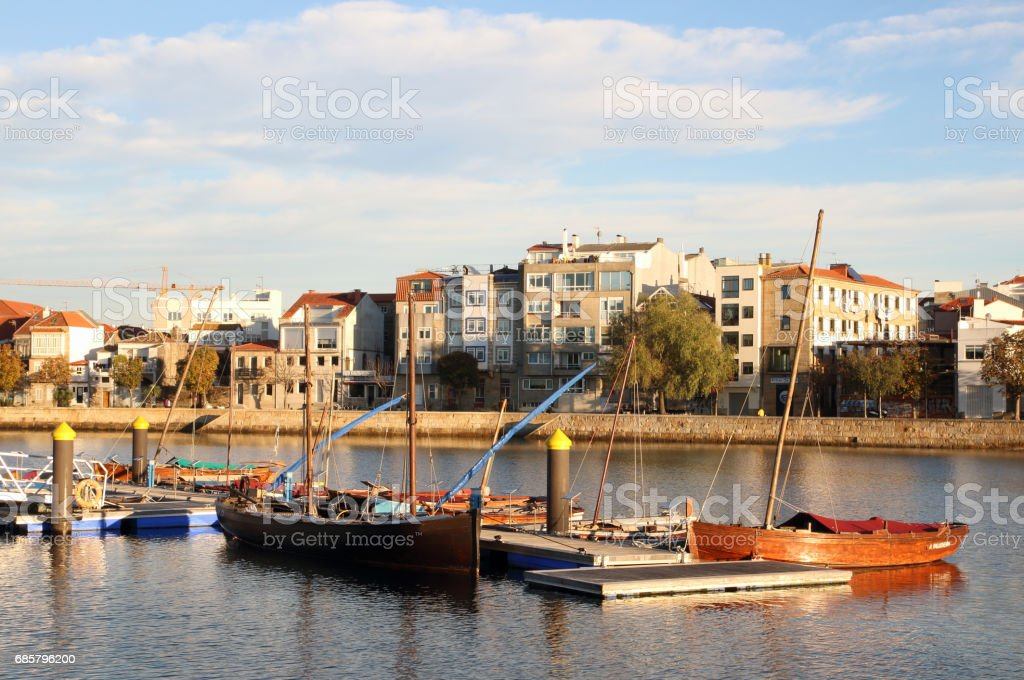 fishing boats in Vigo city stock photo