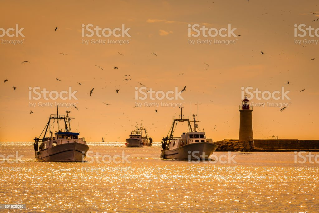 Fishing Boats, Lighthouse and Seagulls stock photo