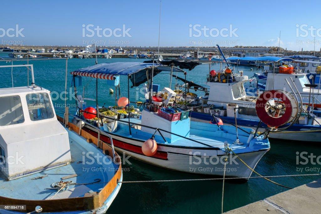 Fishing boats moored in Marina, Zygi, Cyprus stock photo