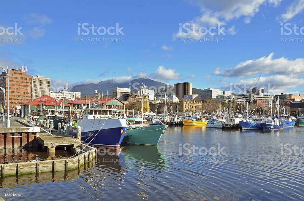 Fishing Boats Moored to the quay in Hobart Harbour stock photo