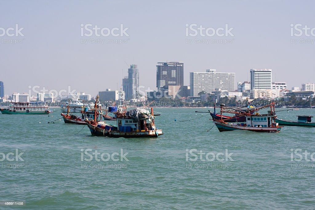 fishing boats near Pattaya stock photo