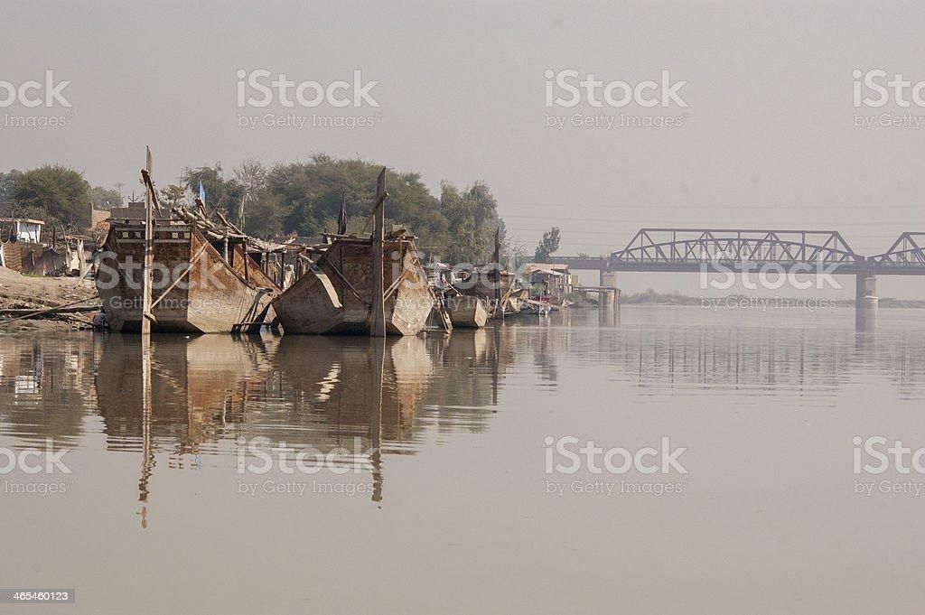 Fishing Boats near Sadhu Belo, Sukkur Sindh, Pakistan stock photo