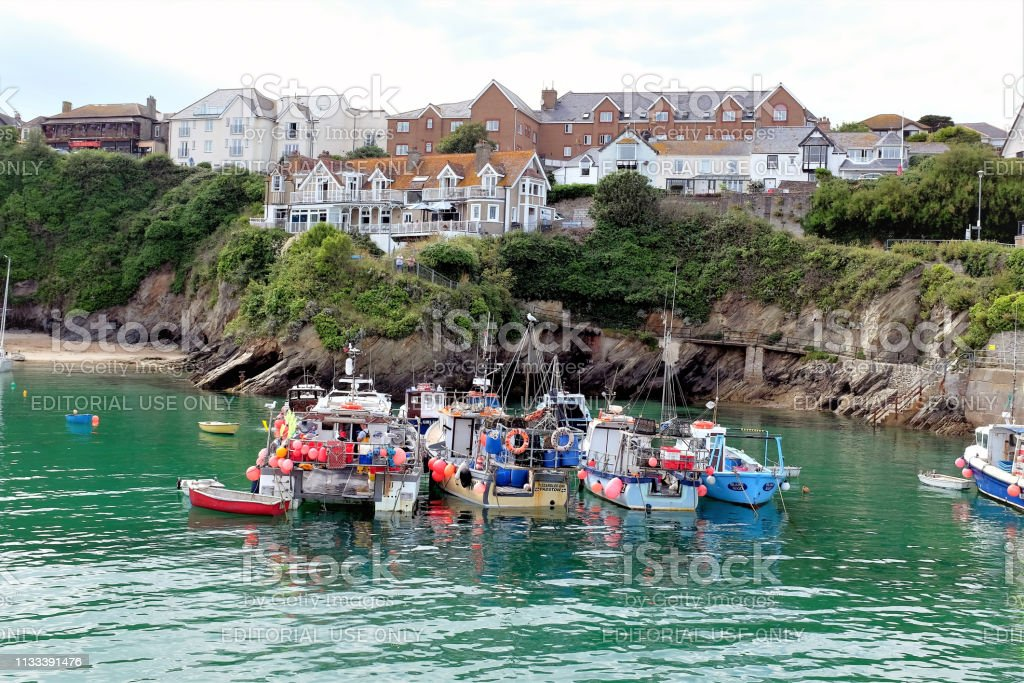 Fishing boats, Newquay, Cornwall, UK. stock photo