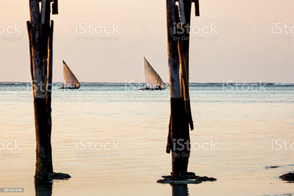 Fishing Boats Of Zanzibar stock photo