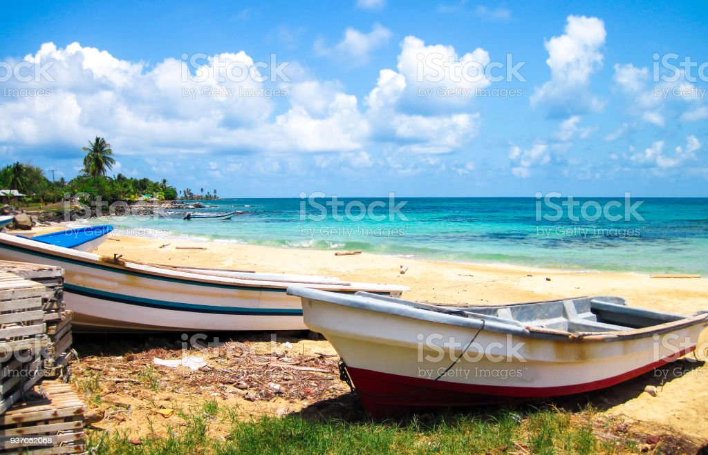 Fishing Boats On A Tropical Island Beach In Nicaragua Royalty Free Stock Photo