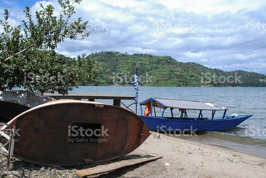 Fishing Boats on Beach of Lake Kivu Gisenyi Rwanda stock photo