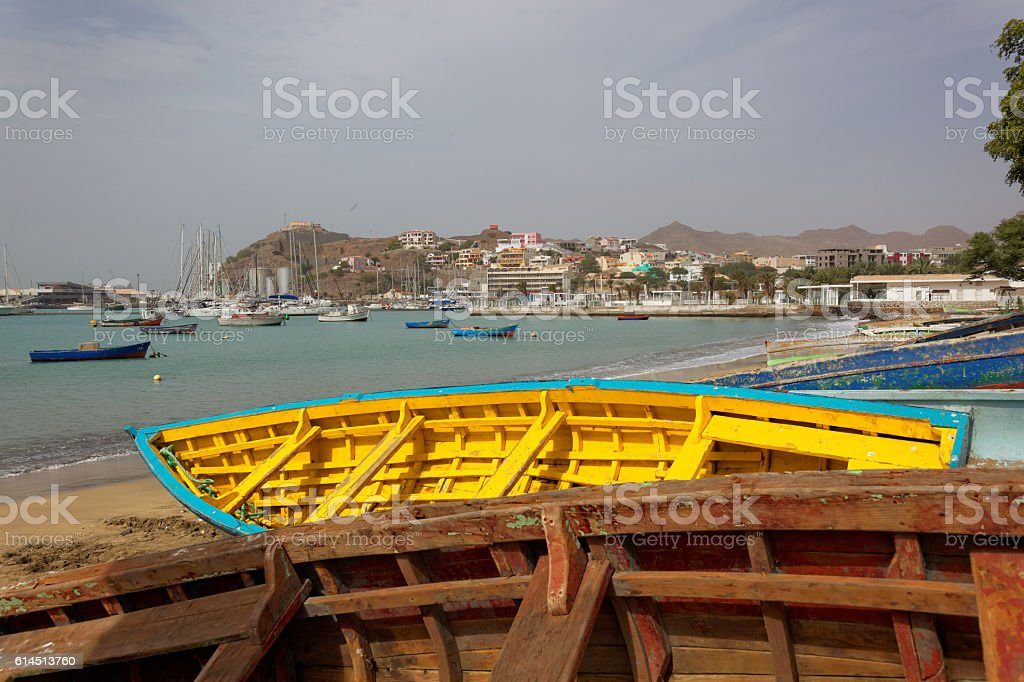 Fishing boats on beach of Mindelo, Sao Vicente, Cape Verde stock photo