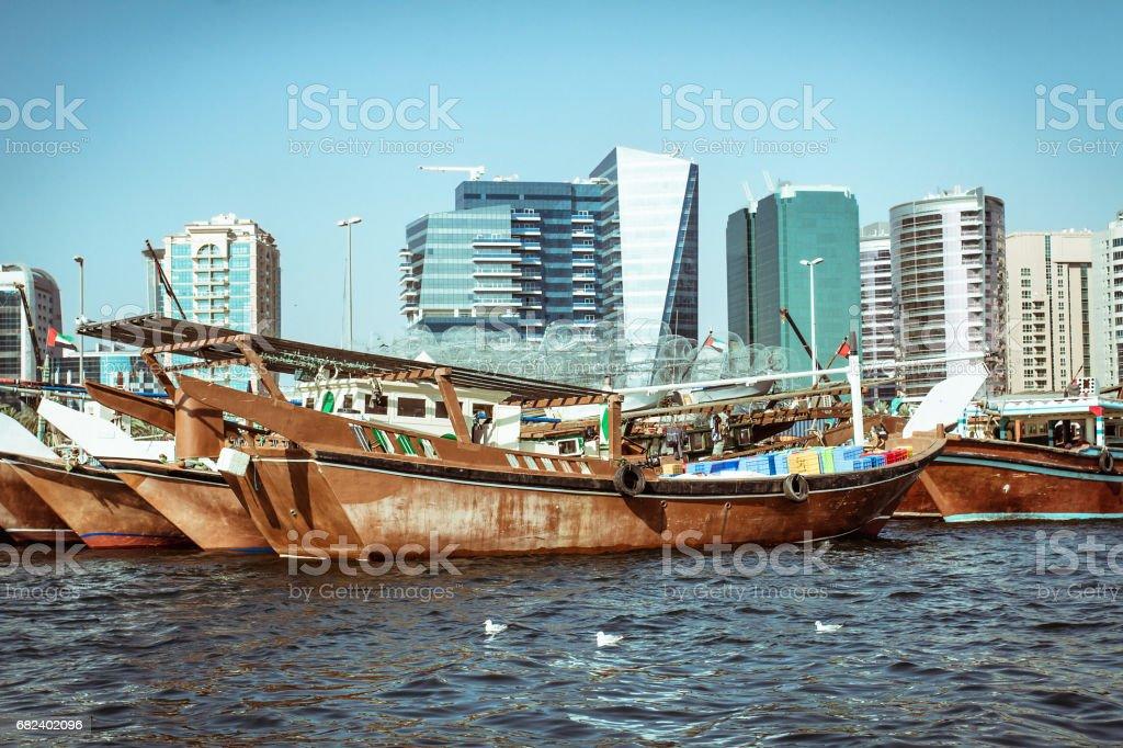 Fishing boats on Dubai Creek at deck royalty-free stock photo