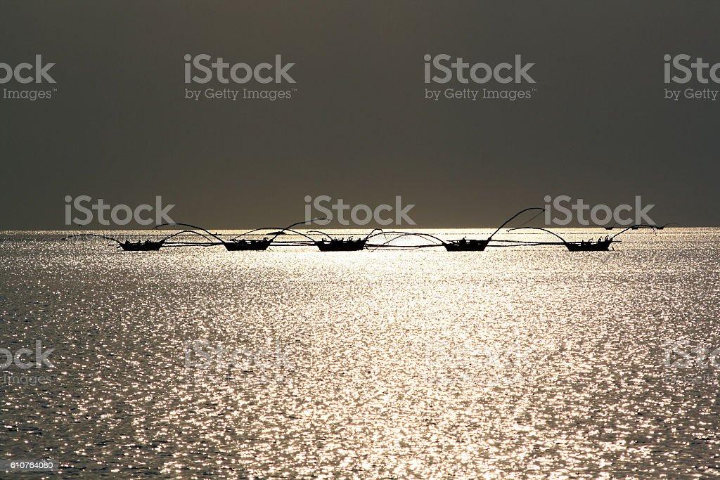 fishing boats on Lake Kivu, Rwanda stock photo