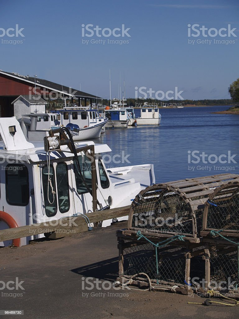 Barche da pesca sull'Isola del Principe Edoardo foto stock royalty-free