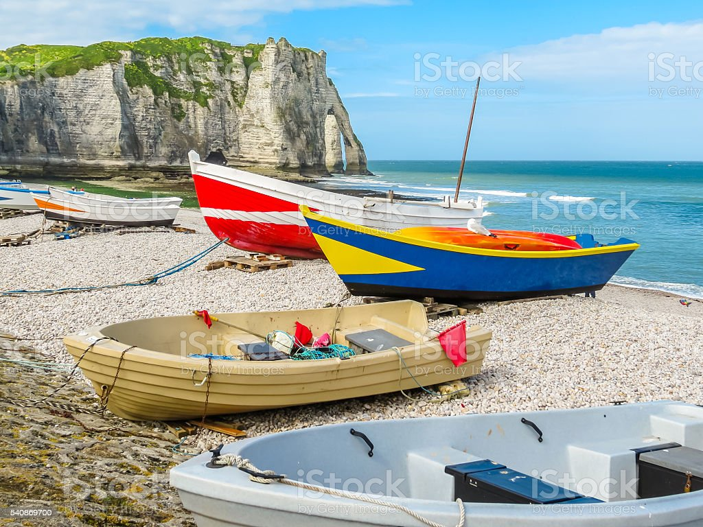 Fishing boats on the bank of English Channel stock photo