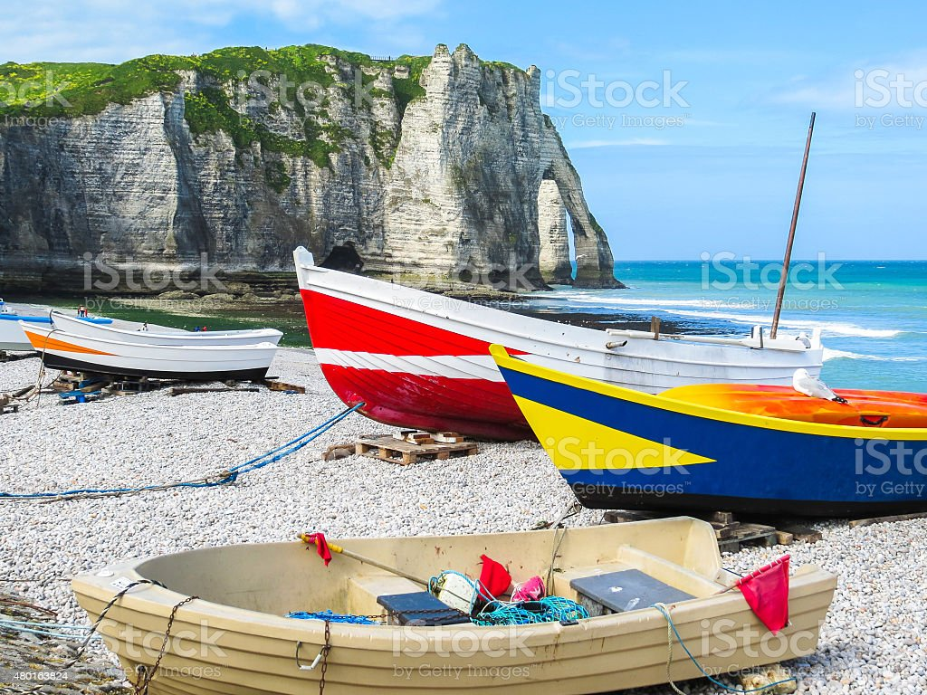 Fishing boats on the bank stock photo