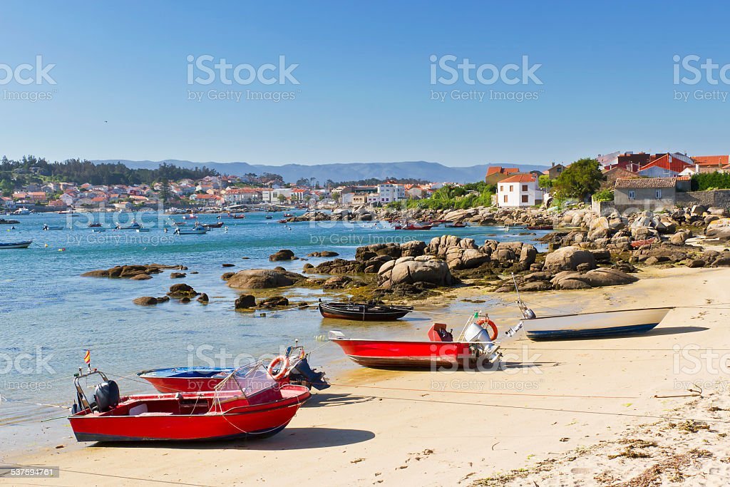 Fishing boats on the beach royalty-free stock photo