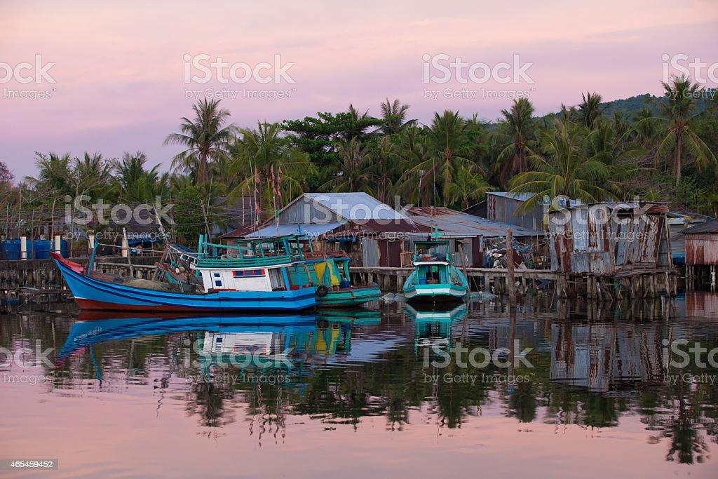 Fishing boats Phu Quoc Island, Southern Vietnam. stock photo