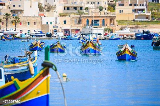 colorful, traditional fishing boats; Marsaxlokk, Malta