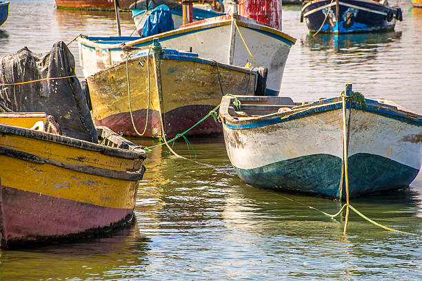 Fishing boats Small fishing boats in the harbor pisco peru stock pictures, royalty-free photos & images
