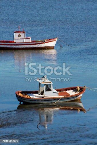 Mooring fishing boats  and reflection