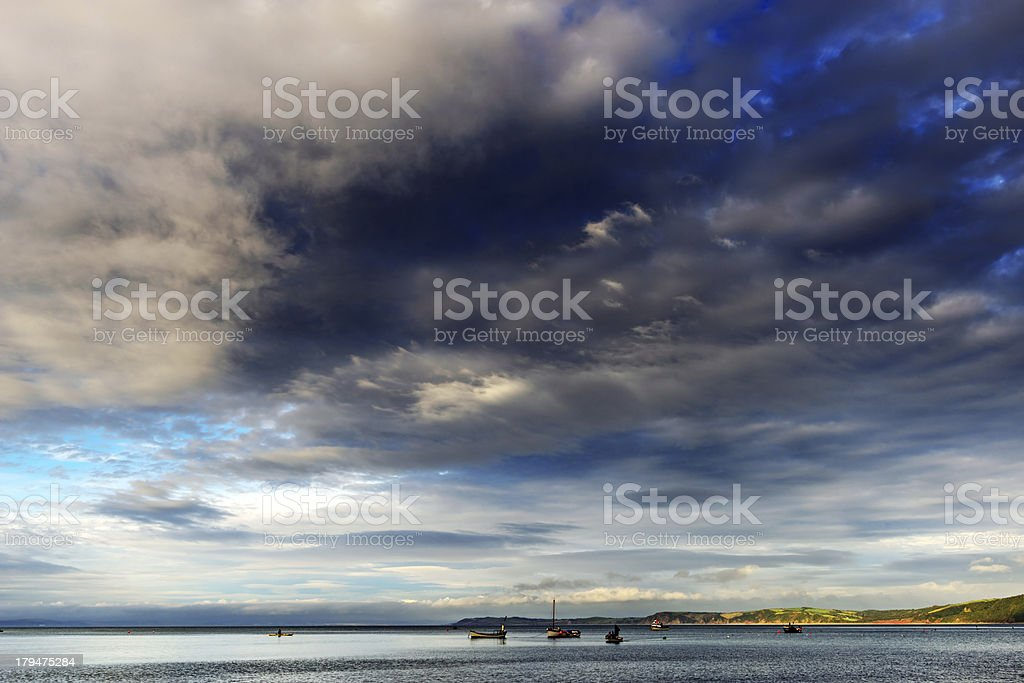 Fishing boats, sea and sky stock photo
