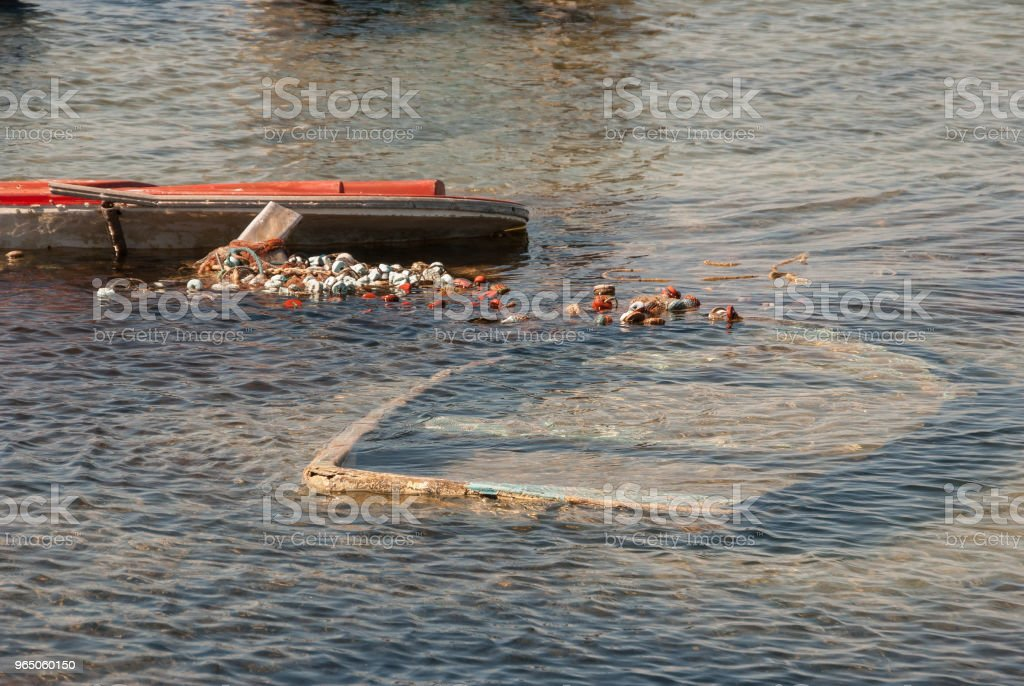 Fishing boats sunk in the Menor Sea of Murcia. Spain royalty-free stock photo