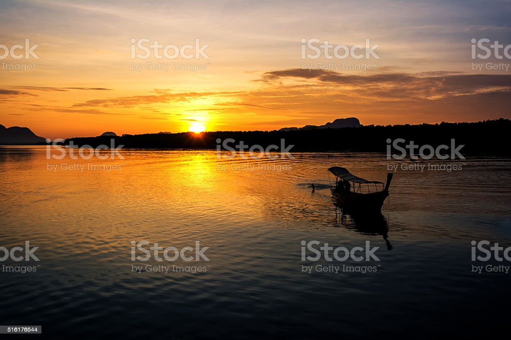 Fishing boats with morning sun. stock photo