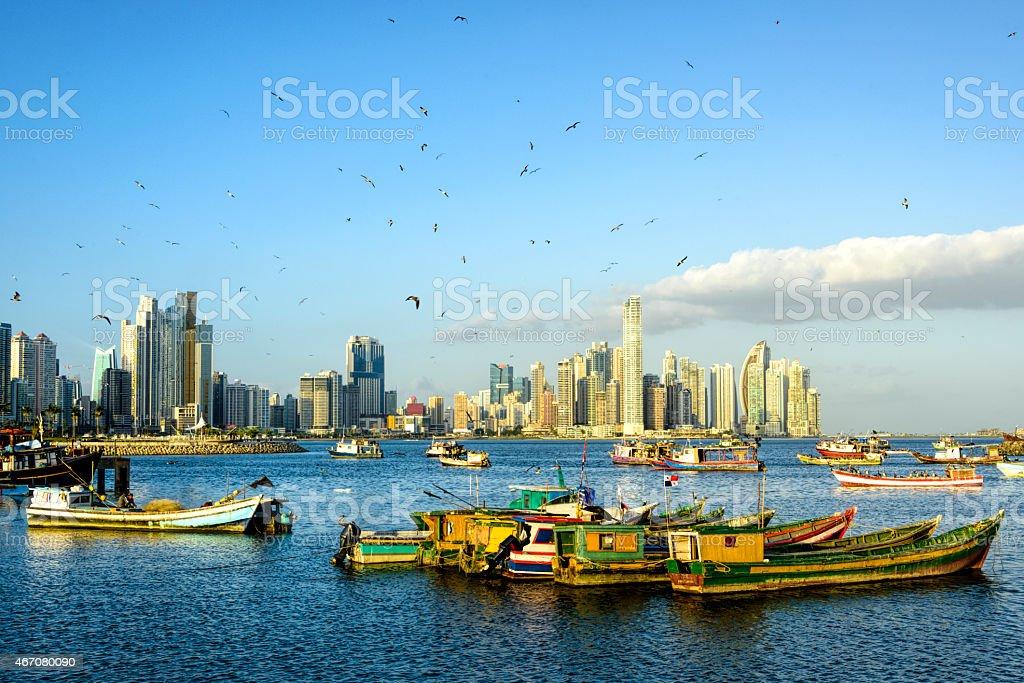 XXXL: Fishing Boats with Panama City skyline stock photo
