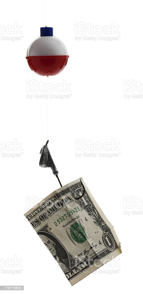 Fishing Bobber with Hook, Line, Sinker and Dollar stock photo